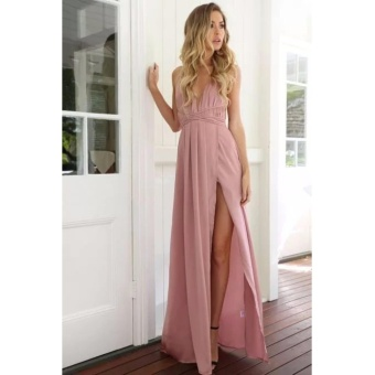Hanyu Women Sexy Satin Strapless Dress V-Neck Fashion Long Party Dresses (Pink)