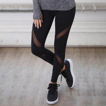 Hanyu Women Sport Trousers Professional Yoga Pants Jogging pants Cropped Leggings Fitness Trousers (Black) - intl - 2
