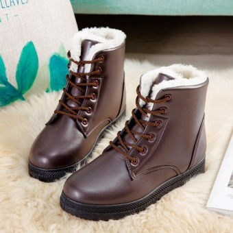 Hanyu Women's Snow Boots Martin Boots Outlets Waterproof Ladis Shoes(Brown)