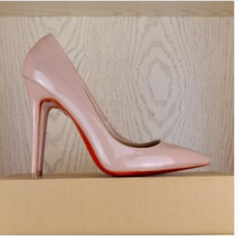 Hanyu Womens Fashion Thin High Heel Pumps Leather Pointed Toe Nude Shoes (Apricot) - intl - 5