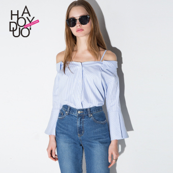 Haoduoyi versatile New style off-the-shoulder strap striped shirt long-sleeved shirt