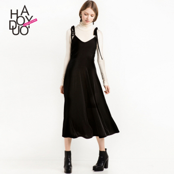 Haoduoyi2017 European and American New style v-neck lace Dungaree dress waist hugging dress