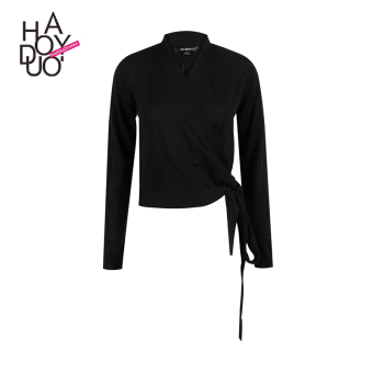Haoduoyi2017 European and American New style v-neck slim fit solid color long-sleeved sweater