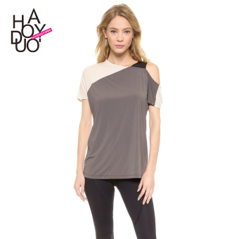 Haoduoyi2017 European and American three-color off-the-shoulder chiffon shirt
