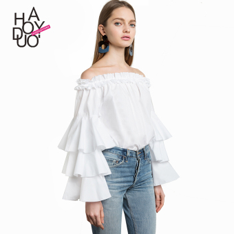 Haoduoyi2017 sweet horizontal neck off-the-shoulder flounced sleeves shirt