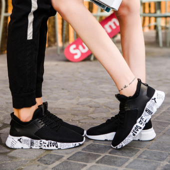 Harajuku Korean-style autumn New style students within the higher shoes sports shoes ([Fine mesh couple] 025 black)