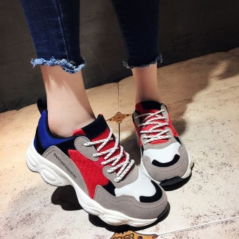 Harajuku Korean-style female students Spell color running shoes heavy-bottomed sports shoes (Red)
