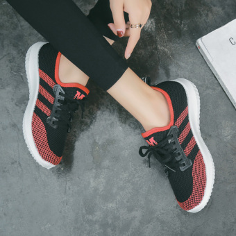 Harajuku Korean-style female style wild casual shoes breathable sports shoes (Red and black)