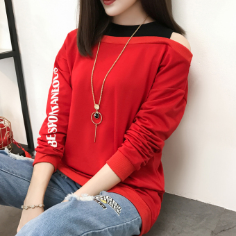 Harajuku New style letter Print off-the-shoulder loose long-sleeved t-shirt (Red)