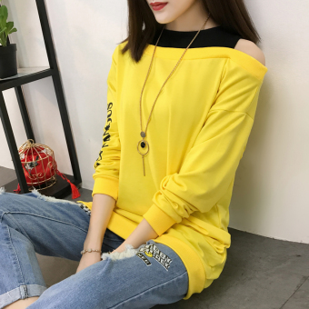 Harajuku New style letter Print off-the-shoulder loose long-sleeved t-shirt (Yellow) Price Philippines