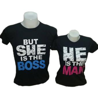 He Is The Man/But She Is The Boss Couple T-Shirt (Black) Price Philippines