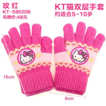Hello Kitty Childrens Girls Korean Style Gloves KT S9020B Rose Double