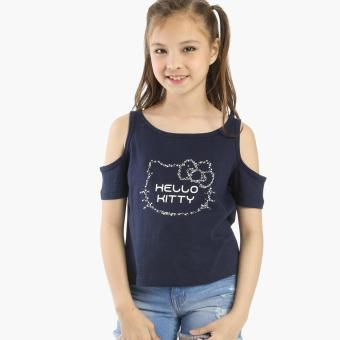 Hello Kitty Girls Cold-shoulder Top (Navy Blue)