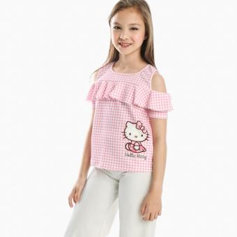 Hello Kitty Girls Cold-shoulder Top (Pink)