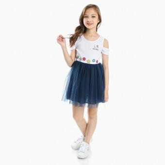 Hello Kitty Girls Cold-shoulder Tutu Dress (White)