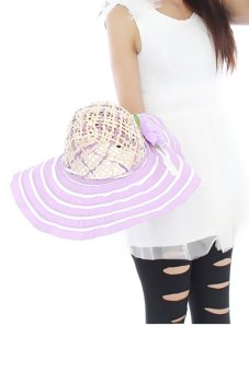 Hengsong Beach Flowers Straw Hat Purple - picture 2