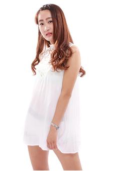 Hengsong Boho Lace Chiffon Summer Dress (White) - picture 4