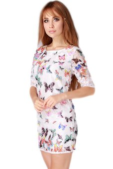 Hengsong Butterfly Printed Dress (Multicolor)