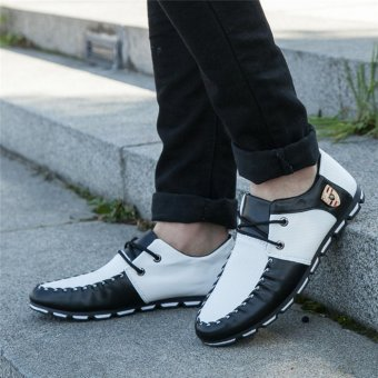 HengSong Fall New Fashion Men 's Casual Shoes Black+White - 3