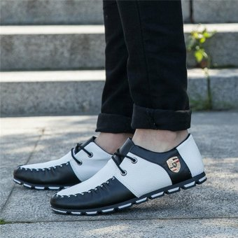 HengSong Fall New Fashion Men 's Casual Shoes Black+White - 4