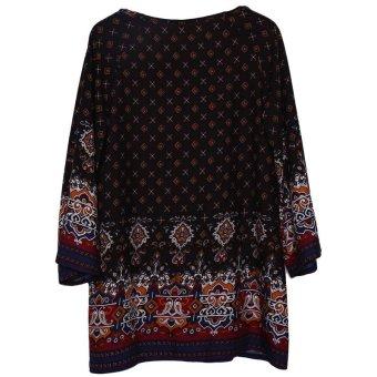 HengSong Ladies Women's Bohemian Vintage Printed Ethnic Style Loose Casual Tunic Dress Black - 4