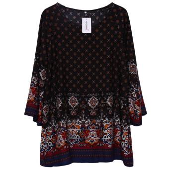 HengSong Ladies Women's Bohemian Vintage Printed Ethnic Style Loose Casual Tunic Dress Black - 3