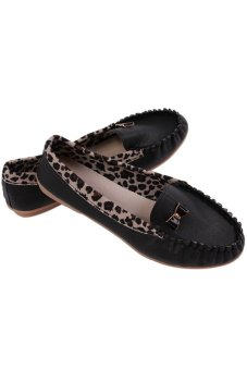 HengSong Leopard Grain Leisure Soft Leather Doug Shoes Flat Shoes Black