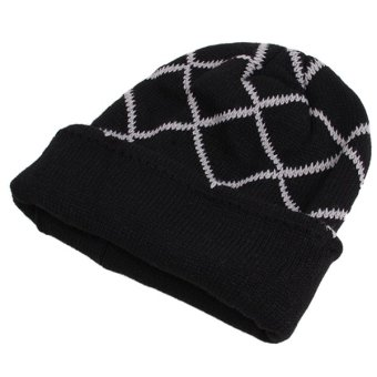 HengSong Male Hats Fashion Knit Casual Caps Black