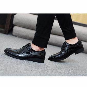 HengSong Men's Crocodile Lines Pointed Business Leather Shoes (Black) - intl - 3