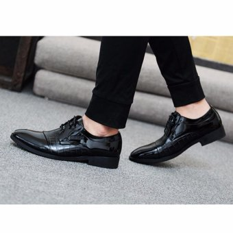 HengSong Men's Crocodile Lines Pointed Business Leather Shoes (Black) - intl - 4