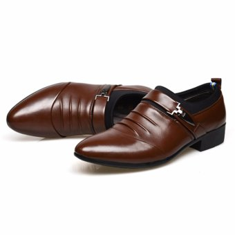 HengSong Men's Formal Business Leather Shoes Casual Formal Shoes (Brown) - intl - 5
