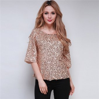 HengSong S-3XL Sequin Loose Casual Lady T-Shirt Middle Sleeve Tops Blouse Gold