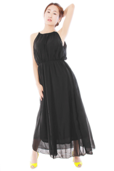Hengsong Sleeveless Long Pleated Dress (Black)