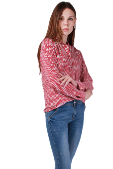 Hengsong Stand Collar Long Sleeve Blouse (Red) - picture 2