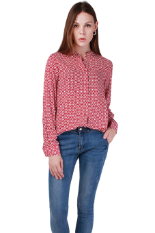 Hengsong Stand Collar Long Sleeve Blouse (Red)