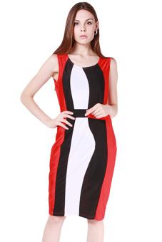 HengSong Women European Style Sexy Fashion Dress Red