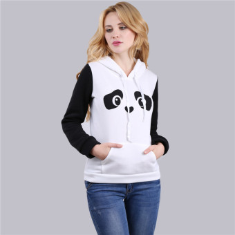 HengSong Women Ladies Casual Panda Pattern Long Sleeve Hooded Thicken Hoodies White - intl - 3