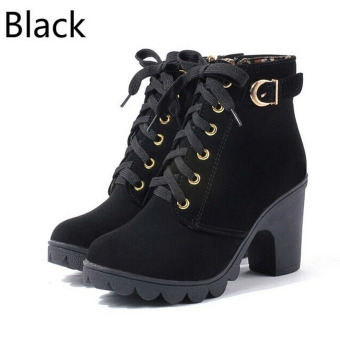 HengSong Women Thick PU Leather High Heel Martin Ankle Zipper Boots Black