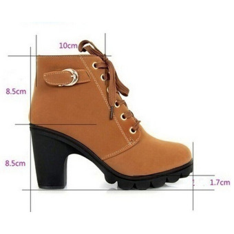 HengSong Women Thick PU Leather High Heel Martin Ankle Zipper Boots Yellow - 3
