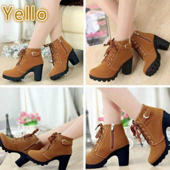 HengSong Women Thick PU Leather High Heel Martin Ankle Zipper Boots Yellow - 2