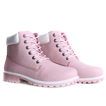 HengSong Women Winter Shoes PU Leather Strapped Flat PatchworkFashion Boots Pink