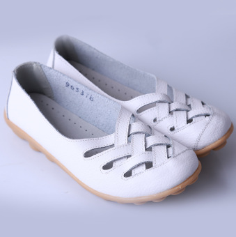 HengSong Women's PU Leather Hollow-Out Flat Shoes White