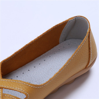HengSong Women's PU Leather Hollow-Out Flat Shoes Yellow - Intl - 4
