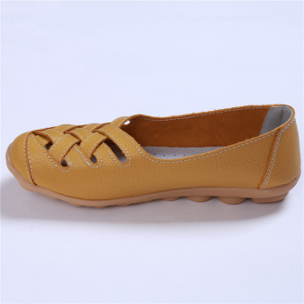 HengSong Women's PU Leather Hollow-Out Flat Shoes Yellow - Intl - 3
