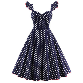 Hepburn European and American style polkadot slimming dress (Dark blue color)