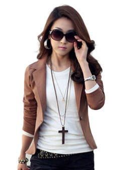 Hequ Business Suit Jacket Lady Coat Slim Blazer (Coffee)
