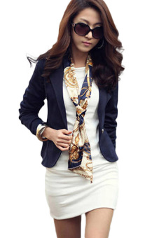 Hequ Business Suit Jacket Lady Coat Slim Blazer (Navy)