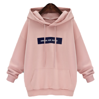 Hequ Casual Fashion Hooded Woman Letter Print Autumn Sweatershirt Long Sleeve Hoodies Pink - intl