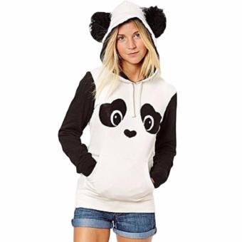 Hequ Christmas New Lovely Women Panda Hoodies Black and White Winter Autumn Cosplay Pullovers Sweatshirts White - intl - 3