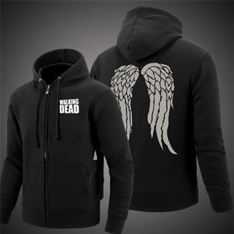 Hequ Fall and Winter The Wings Horn Hooded Hoodie Sweater JacketMen Black - intl - 3